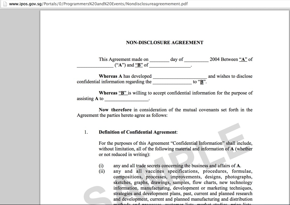 Intellectual Property Office Of Singapore Help Desk Clueless About - One page nda template